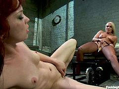 It's a hot lesbian femdom video with bondage and fucking machine action with Jessi Palmer and Mellanie Monroe.