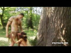 Amazon slut Janet Joy gets fucked deep in the forest