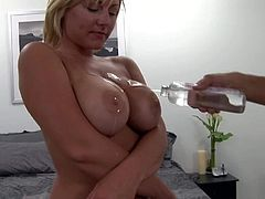 Tempting short haired tanned blonde Velicity Von with awesome body and big smile on face in white undies only plays with her perfect juicy gazongas while her hubby films everything.