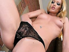 Blonde Sophie Moone masturbates to orgasm in solo action