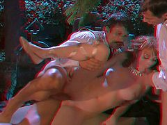 Experienced Alan Stafford and Joey Brass with long meaty cocks in white shirts seduce young looking babe Marie McCray with slim sexy body. They bang slender slut in amazing 3D parody.