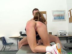 Voracious milfie gets her creamy cunt brutally fucked by teacher