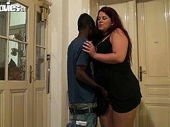 Big fat white ass slut is wearing black lingerie with nude nylon stockings. Black man licks and fingers her pussy. This makes her go wet as fuck. Later on BBW hoe kneels down taking hard BBC in her mouth. She sucks the rod deepthroat.