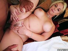 Torrid blonde hooker Sarah Vandella would win any deepthroat sucking competition. Blonde bombshell is incredibly talented cock sucker. Watch her deepthroating huge black dong in dirty Bang Bros Network fuck video.