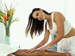 At first, she massages his strong back, then he turns around and she massages his chest. Then he excites and she sees it and blows his erected cock in steamy Wicked massage sex clip!