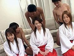 Needy japanese dolls having their wet pussies nailed in asian gang bang porn