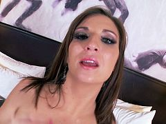 Amazingly seductive porn actress Kylie Kane is wearing sexy lingerie set. She slides her fingers against wet thongs. She takes off the bra exposing mouth-watering natural tits. Hell exciting erotic video starring brunette bombshell Kylie Kane is definitely worth watching.