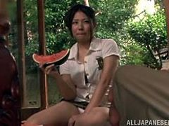 The sensual Japanese mature is having a meal with her man but she wants some real meat not watermelon and corn. Well it's time for her to receive what she craves for and this guy gives her his hard cock. The bitch drools for it and licks that dick with great lust desiring some semen topping!