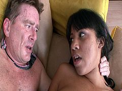Latina slut Momoko rides daddy's cock on the couch. As she was relaxing this old man walks in and offers his huge white cock to her colored pussy for one horny encounter.