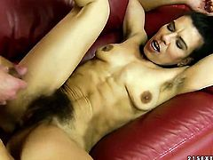 Brunette is good at tool sucking and loves it