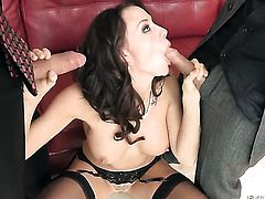 Steve Holmes makes Chanel Preston gag on his meaty rod after she takes it in her chocolate speedway