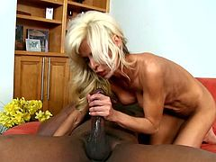 Smoking hot blondie is so high about a huge black cock