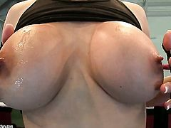Blonde Tanya Tate touches her boobs playfully