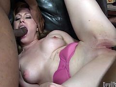 This horny bitch loves deep fucking and hrad sucking. And she does this on the leather black couch! Watch this fuck in Fame Digital sex video!