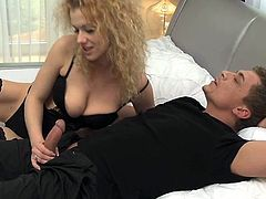 Cute blonde curly cougar in sexy black stockings loves to be used by horny fucker an get that hard cock deep in her vagina from behind.
