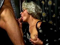 She is wearing black stockings and she can not wait to feel hard cock deep in her old cunt, this fucker is there to make her pleased before facial end