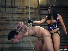 And that's a fucking BDSM femdom that is going on in here! This sizzling and petite babe Mika Tan is in her Asian way of torturing men!