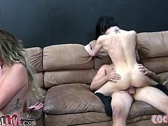 Asphyxia Noir, Jennifer White and one more hussy are having fun with two studs indoors. The girls admire the studs with their cock-sucking abilities and then allow them to pound their juicy cunts.