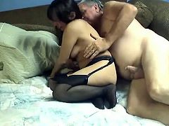 Take a look at two disgusting brunette and blonde moms giving blowjob to one hairy guy. Then bitches ride that miserable dick in turn.