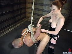 You cannot miss this video if you like female domination. This mistress is crazy. She ties some guy up and then destroys his ass with the strap-on.