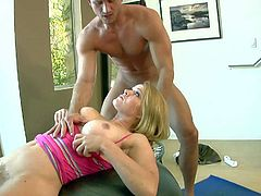 Pretty lusty and always horny blonde nympho Krissy Lynn with huge hooters and french manicure loses control in the gym and gives awesome ball sucking session to fitness instructor Bill Bailey.