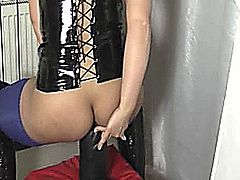 Insatiable blond amateur stuffs her loose ass and vagina with a colossal black dildo till her holes are wrecked