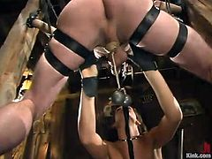 Kinky brunette chick ties Wild Bill up in a wooden barn. After that she fingers and toys his ass with a strap-on. She also please his dick with a pocket pussy.