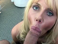 Big tits blonde milf amazes with her sensual lips during top POV oral show