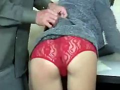 This bitch with a hot ass is getting her red panties pulled down for a good hard spanking that she will not soon forget.