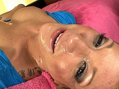 Alluring blonde makes wonders with her lips during rough POV blowjob porn scene