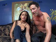 Long haired lusty hottie Ami Miley with awesome fit body figure and nice boobs in black underwear and boots gives head to tall Tony De Sergio and gets pink pussy licked.