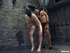 Jack loves to be dominated by a woman. So, he gets his ass spanked and fingered. Later on sucks a strap-on and gets toyed.