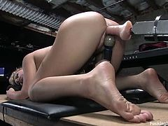 Check out the hot blonde babe Brook Scott enjoying herself when she's fucked by a machine that takes her to orgasm.