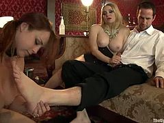 Two amazing girls with curvy bodies fuck each other with strap on and then suck big hard cock. Later on they get fingered and fucked hard.