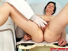 Horny Czech mature named Barbora is ready to get her pussy examined by her horny gynecologist. He uses various toys to stretch her old cunt wide to check if it's healthy.