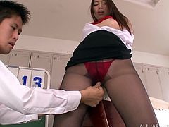 Sizzling Japanese bitch Natsume Inagaw is having fun with some guy in the locker room. She allows him to rub her coochie and then they have ardent doggy style sex on a bench.