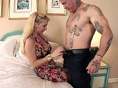 Hot blonde milf Phyllisha Anne is having fun with some bulky dude indoors. They have ardent oral sex and then bang in the reverse cowgirl and other positions.