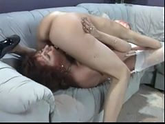 Agna and Hilda are having lesbian fun indoors. The mature brunette pets the skinny blonde and then they eat each other's shaved pussies.