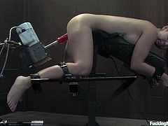 Slender and petite babe Holly West is being bondaged for a machine. So she kindly asks to take the ropes off, as she is loving the machine and there is no need to keep her tied!