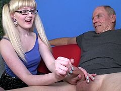 Teeny likes to feel older cock in her hands during impressive handjob porn show