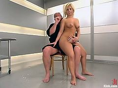 This filthy and horny chick Georgia Peach gets tied up and fucked so fucking hard. She gets trapped on the bondage device and then Mark drills her wet pussy!