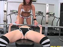 Two slender girls in sexy sportswear fuck after a workout. These babes kiss and then lick each others sweaty pussies right in the gym.