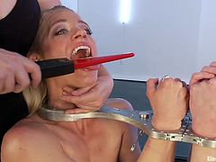 It's punishing time here at Electro Sluts and Lea is the perfect mistress for this job! She handcuffed two sexy broads and decided to gave them a very shocking treatment. These bitches used their mouths to suck cock and to talk way too much so Lea pinches their tongues with her magic electric wand!