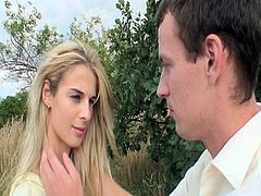 This European blonde was praying when a guy saw her and talked her into fucking him. He started to caress her body slowly and then he pounded her smooth pussy hard.