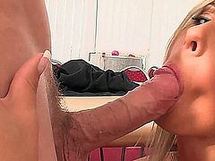 Daria Glower works hard from 9 to 5 but after her coworkers are headed home, she's just getting started. She hava a 1on1 with her handsome boss you'll see this big boobed blonde gives him an view of her stockings and thighs, getting his dick so hard, he can't wait to fuck her and get a blowjob, before giving her a facial.