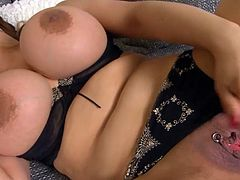 Lovely asian shakes her huge boobs while gently masturbating down her greedy cunt