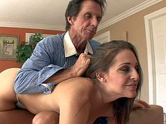 Young hot ass brunette Grace Glam with big juicy ass in slutty lingerie gets shaved cunny licked by step daddy and rides on his cock while mammy is having shopping spree.