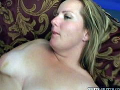 She's a chubby blonde that likes black guys and their semen. This time she's fucking with one and craves for his jizz. The bitch goes on top and rides the dude in reverse cowgirl, bouncing her big boobs. Then, she lays on her back and he continues to fuck her shaved pussy until he cums in her!