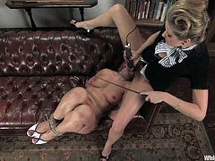 Maitresse Madeline is a very strict employer. She always punishes Dia Zerva for any fault. This time she whips the ass and toys in both holes.