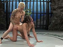 Syd Blakovich is one of the most experienced fighter, so she wins Lorena with ease. So the Latin girl has to lick pussy and then she gets her vagina toyed with a strap-on.